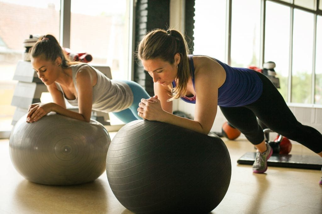Ladies Training With Pilates Ball