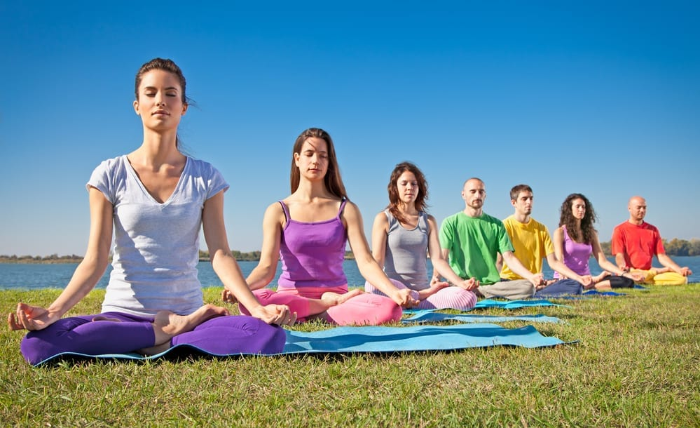 young people meditate