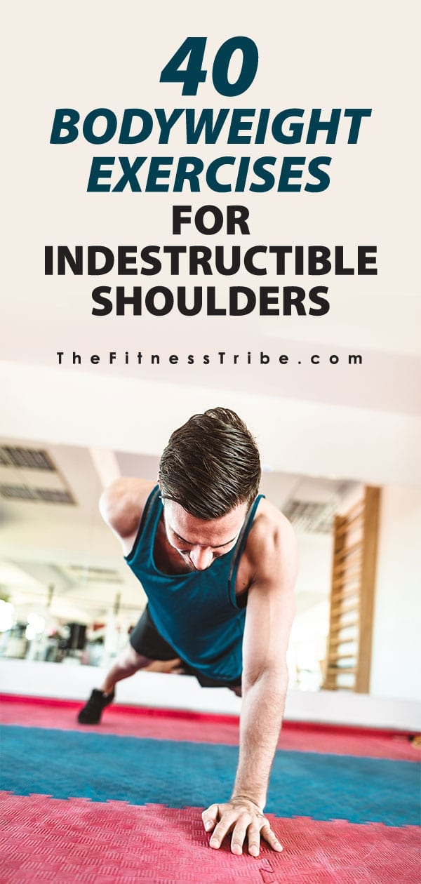 Most people don't realize there are a ton of bodyweight exercises that directly, and indirectly, work your shoulders. Here is a long list. Many of these are very advanced movements, make sure to be cautious and avoid injury!