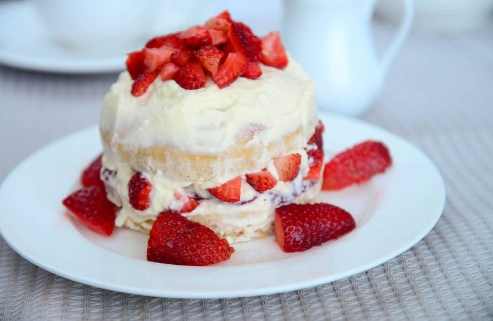 Cream And Strawberries On Top